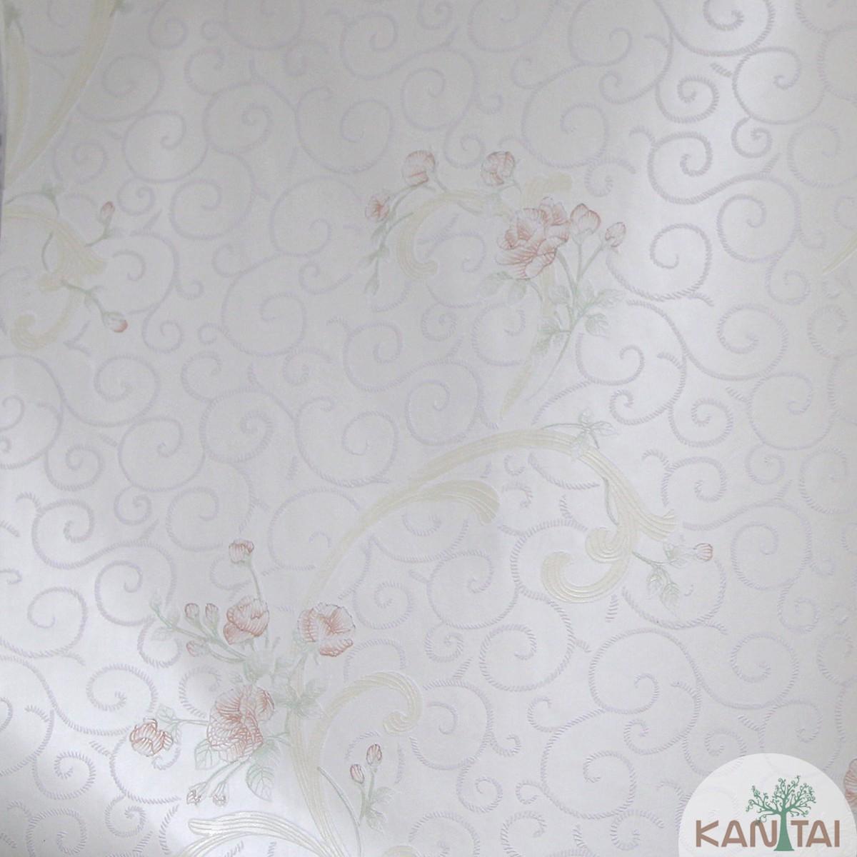 Papel de Parede Importado Kan Tai TNT Coleção Grace Flores delicadas Creme, Amarelo, Verde, Baixo relevo
