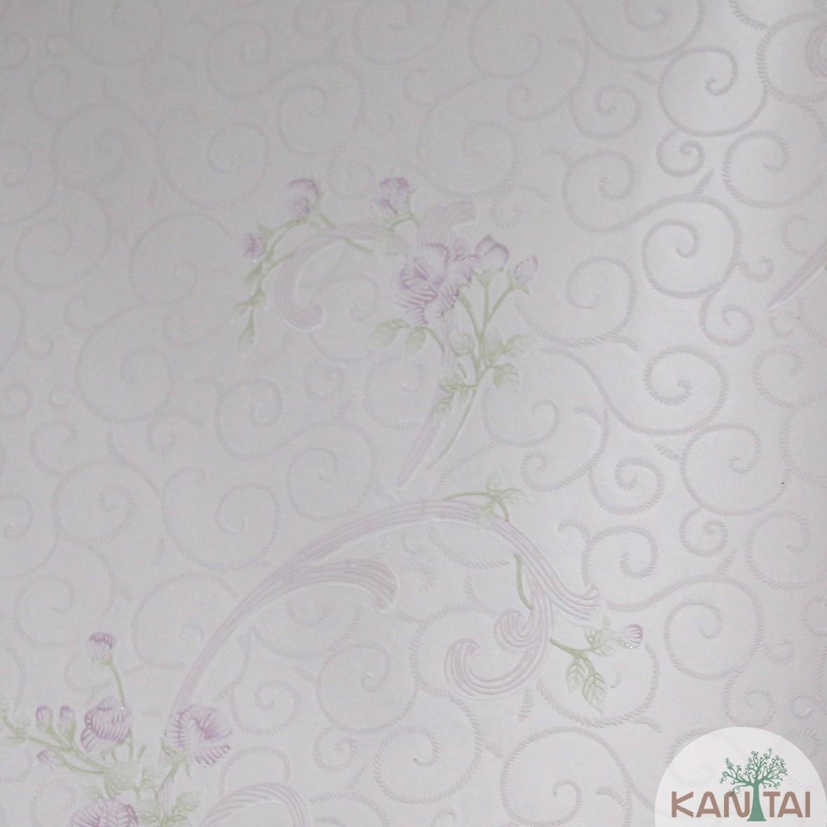 Papel de Parede Importado Kan Tai TNT Coleção Grace Flores delicadas Rosê, Lilás, Verde, Baixo relevo