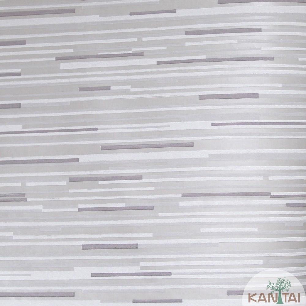 Papel de Parede Importado Kan Tai TNT Coleção Grace Geométrico Traços Horizontais Bege, Creme, Cinza