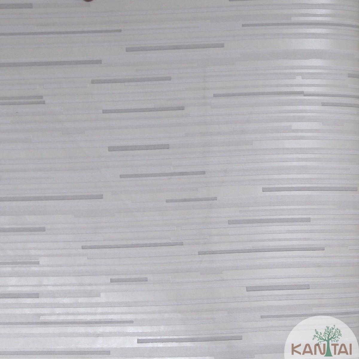 Papel de Parede Importado Kan Tai TNT Coleção Grace Geométrico Traços Horizontais Creme, Off white, Cinza