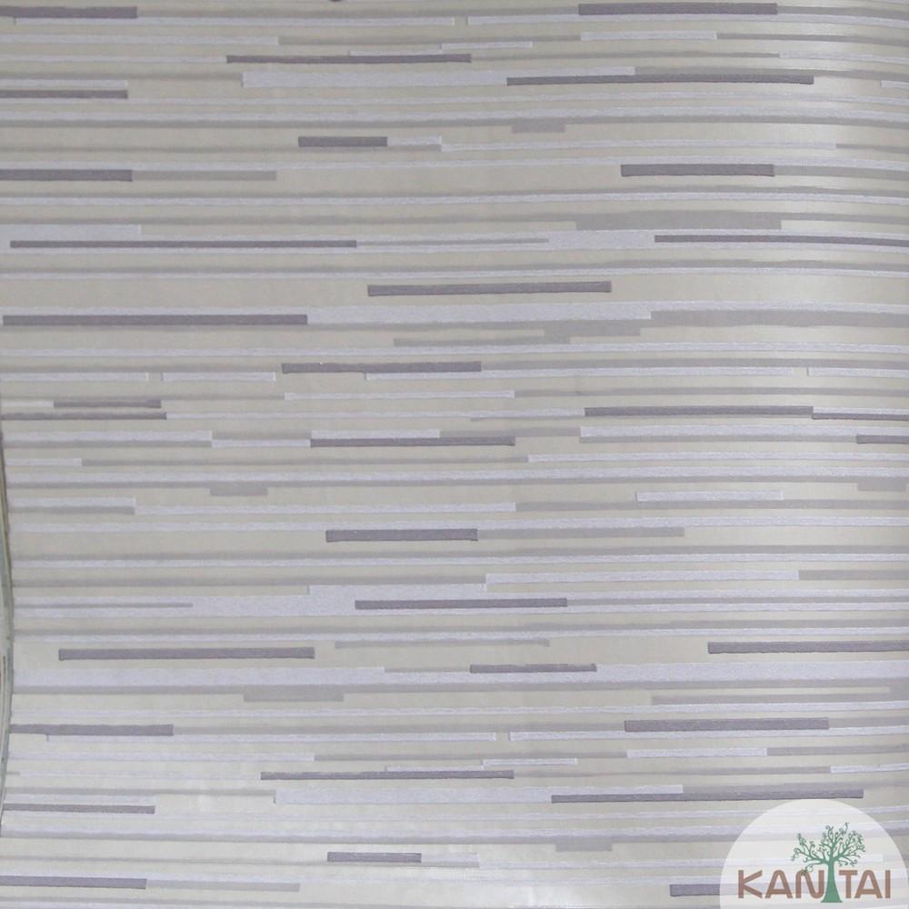 Papel de Parede Importado Kan Tai TNT Coleção Grace Geométrico Traços Horizontais Tons cinza, Prata