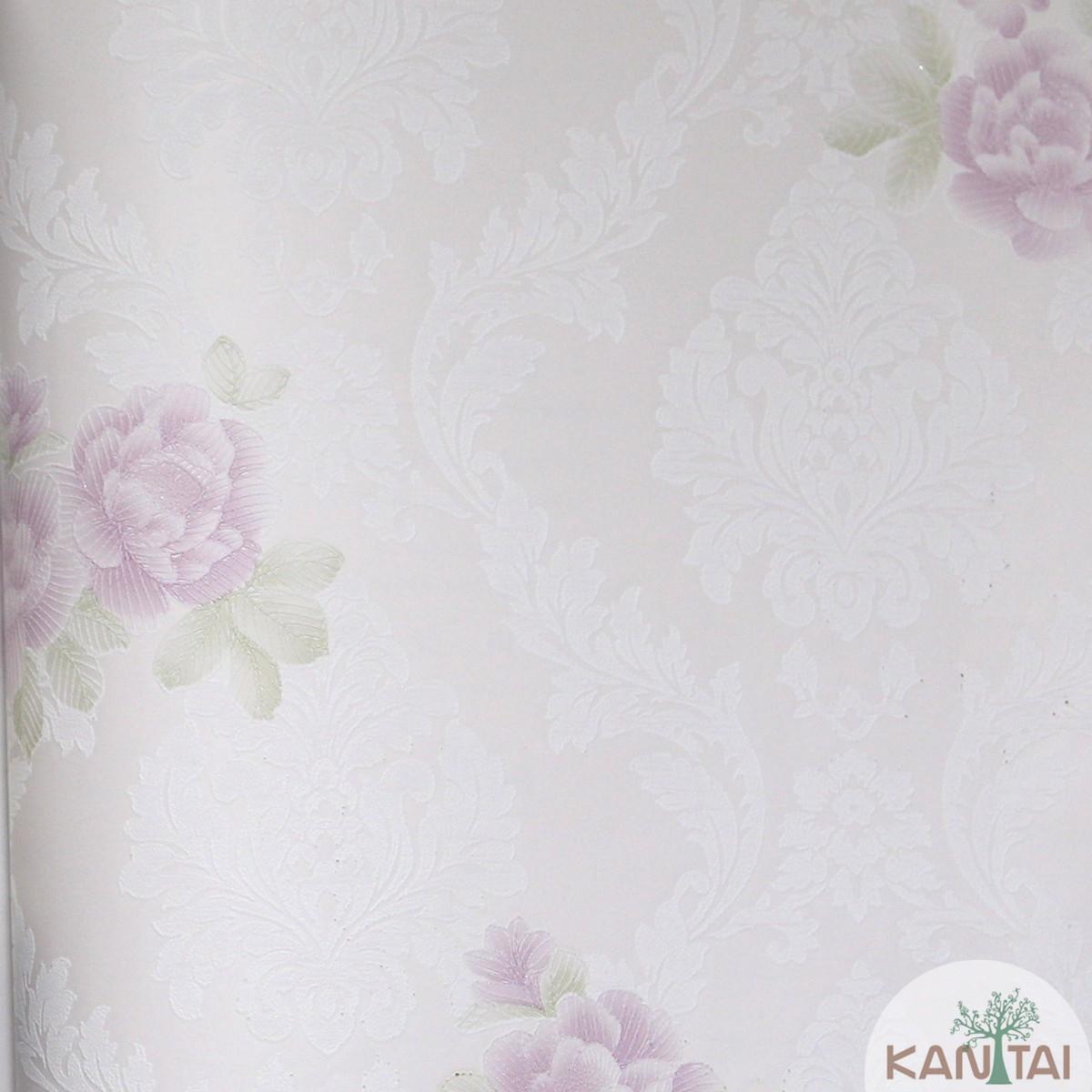 Papel de Parede Importado Kan Tai TNT Coleção Grace Floral Arabesco Rosê, Off white, Rosa, Verde, Baixo relevo