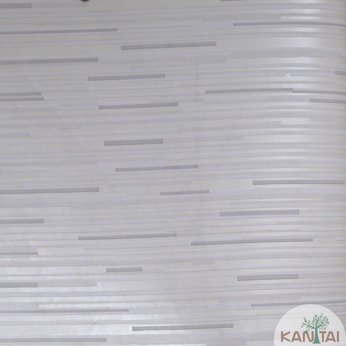 Papel de Parede Importado Kantai TNT Coleção Grace Geométrico Traços Horizontais Creme, Off white, Cinza