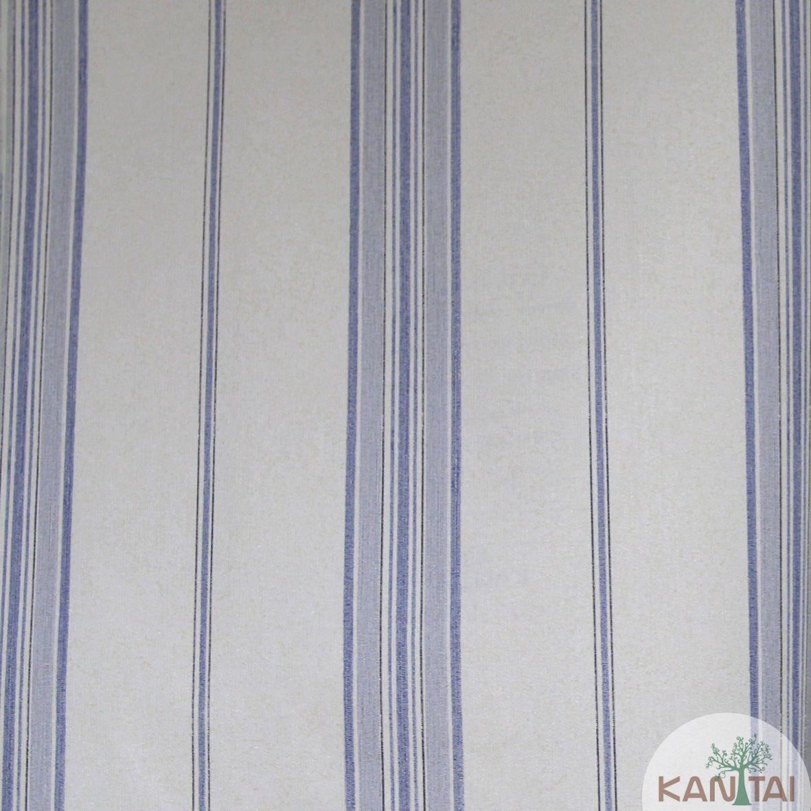 Papel de Parede Importado  Kan Tai TNT Coleção Grace Listrado Tons Azul, Creme