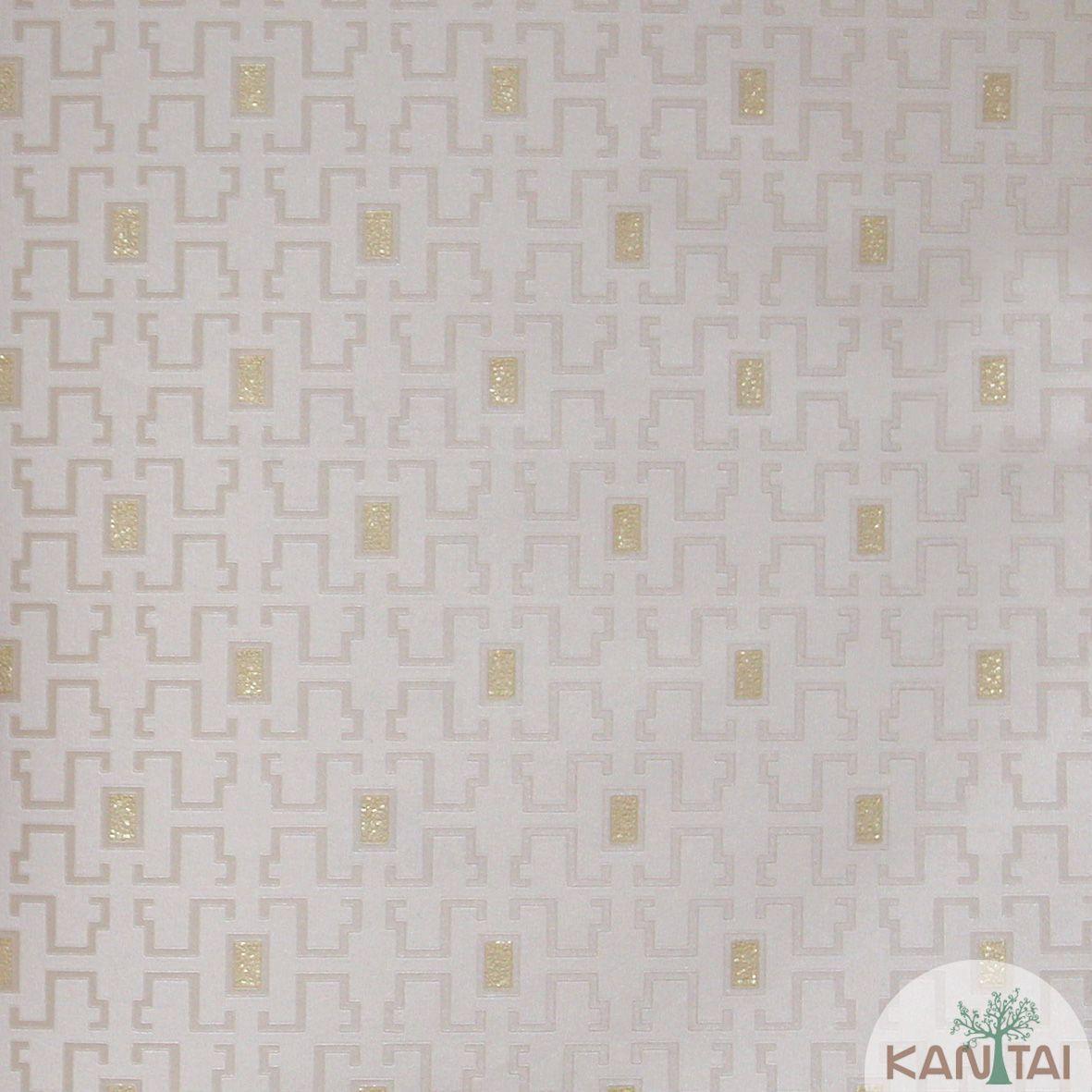 Papel de Parede Importado  Kan Tai  Vinílico Coleção Grace Geométrico Labirinto Bege claro, Dourado, Brilho