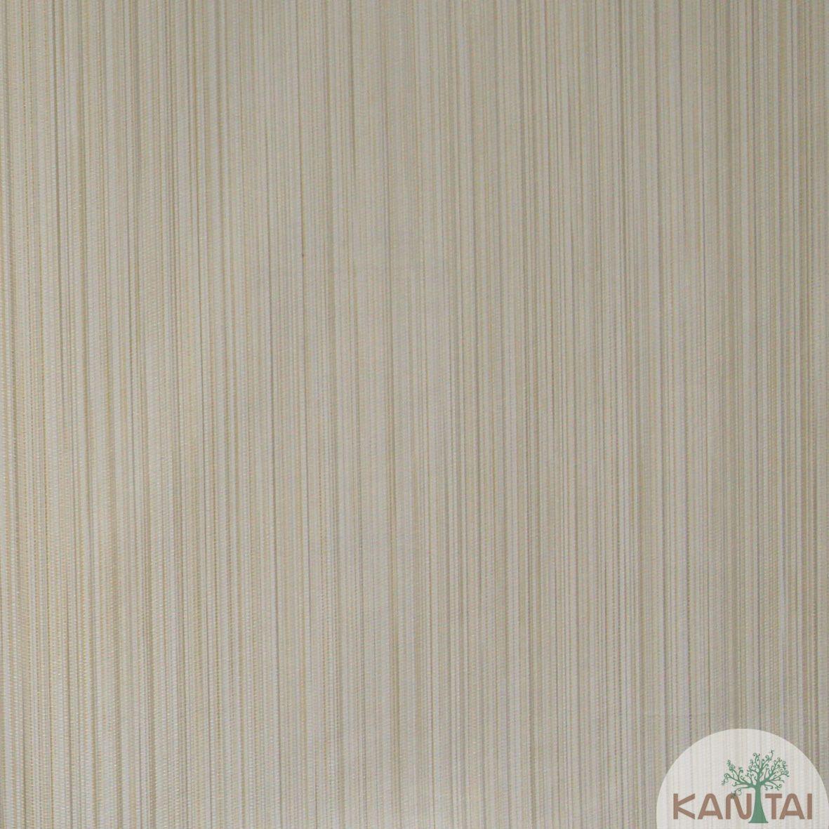 Papel de Parede Importado  Kan Tai Vinílico Coleção Grace Textura Listras Bege, Dourado