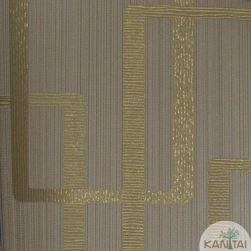 Papel de Parede Kan Tai Vinílico Tecido Coleção Rhythm Geométrico Bege escuro, Dourado