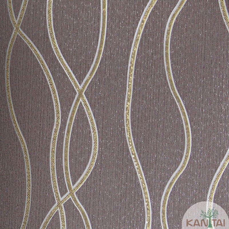 Papel de Parede Kan Tai Vinílico Tecido Coleção Rhythm Geométrico Ondas Lilás, Dourado, Cinza