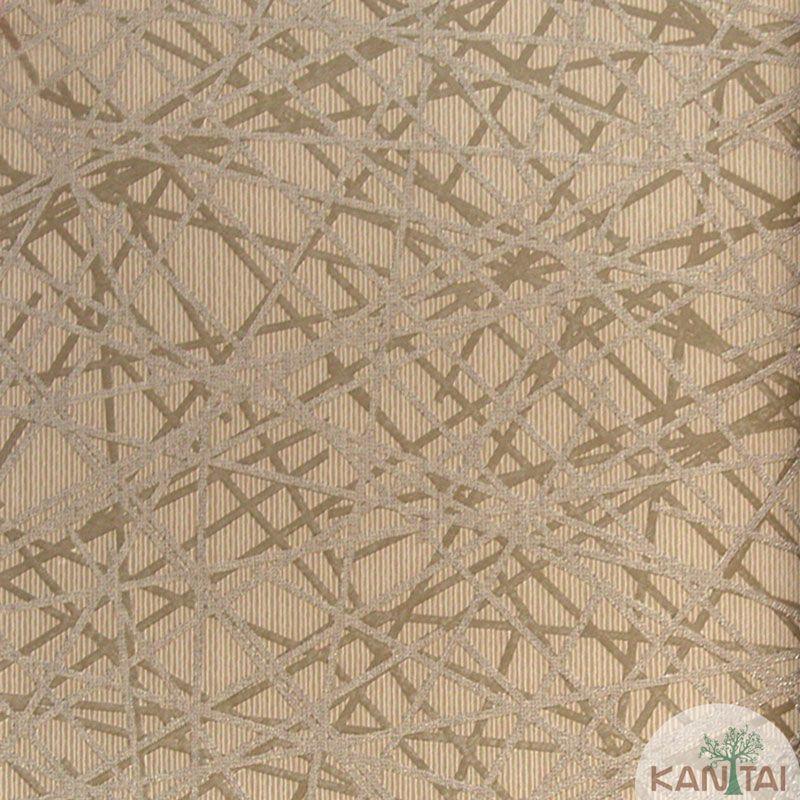Papel de Parede Kan Tai Vinílico Tecido Coleção Rhythm Geométrico Tons Marrom