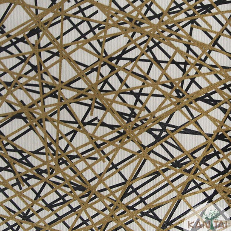 Papel de Parede Kan Tai Vinílico Tecido Coleção Rhythm Geométrico Off white, Dourado, Preto