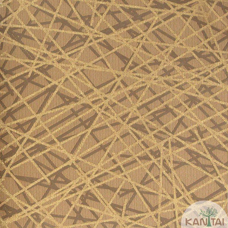 Papel de Parede Kan Tai Vinílico Tecido Coleção Rhythm Geométrico Marrom, Dourado