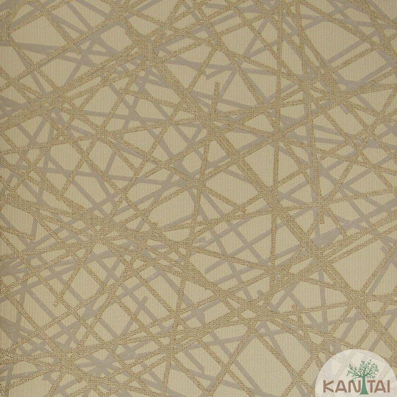 Papel de Parede Kan Tai Vinílico Tecido Coleção Rhythm Creme, Dourado, Cinza