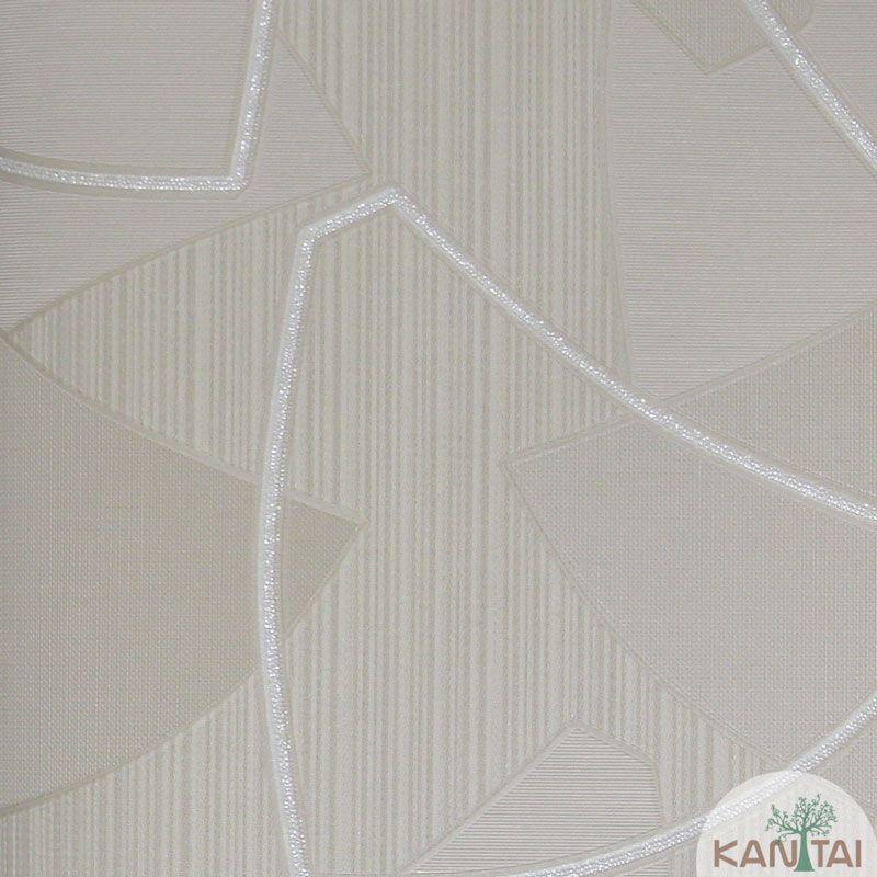 Papel de Parede Kan Tai Vinílico Tecido Coleção Rhythm Geométrico Bege claro, Prata