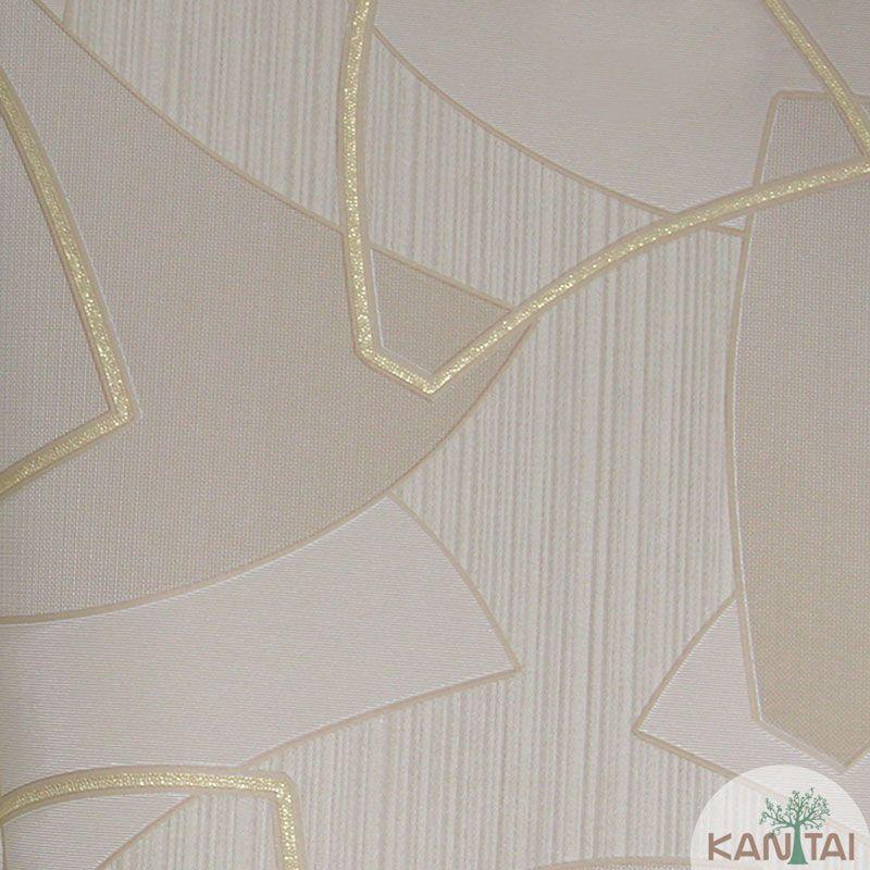 Papel de Parede Kan Tai Vinílico Tecido Coleção Rhythm Geométrico Bege, Dourado