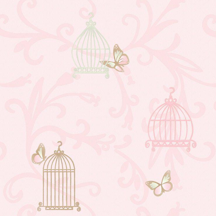 Papel de parede Coleção Infantário Gaiolas rosa