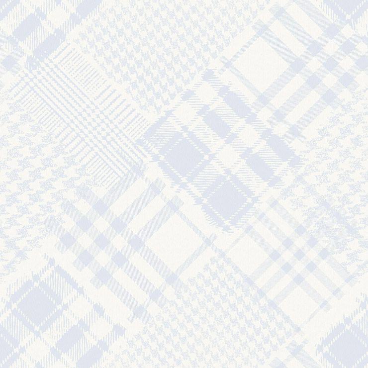 Papel de parede Coleção Infantário Henrique xadrez patchwork azul