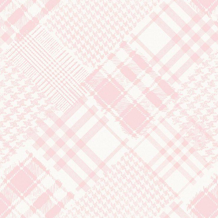 Papel de parede Coleção Infantário Henrique xadrez patchwork rosa
