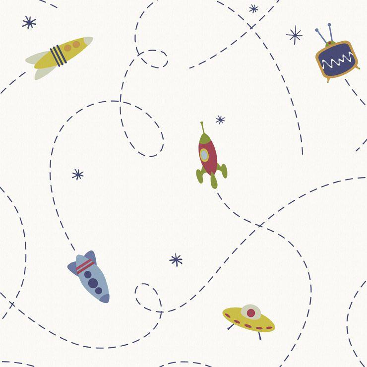 Papel de parede Coleção Infantário Robô foguete branco