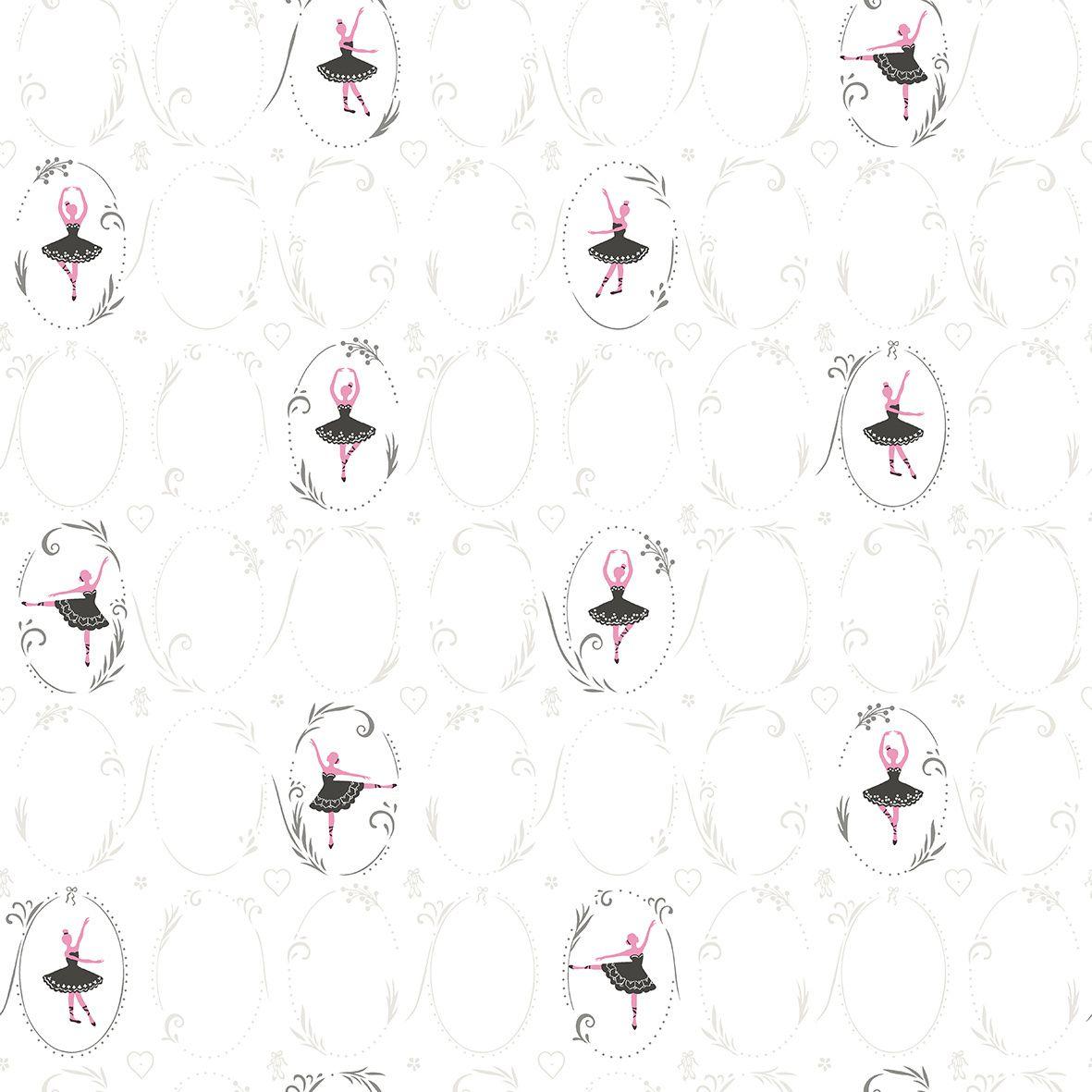 Papel de Parede  Infantil Kan Tai Coleção Olá Baby 2 Bailarinas Marfim, Preto, Rosa