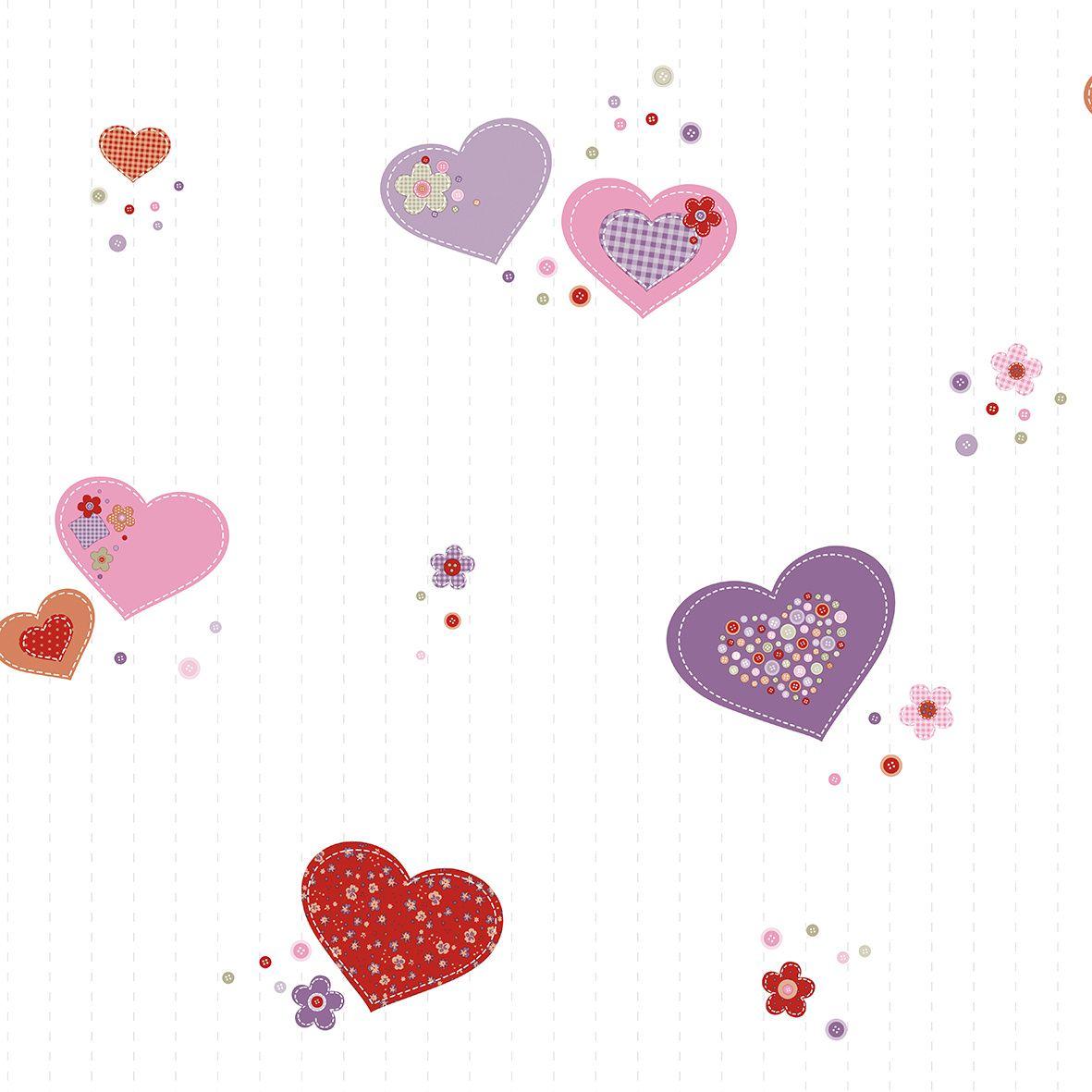 Papel de parede  Infantil Coleção Olá Baby 2 Corações Creme, Rosa, Vermelho, Lilás