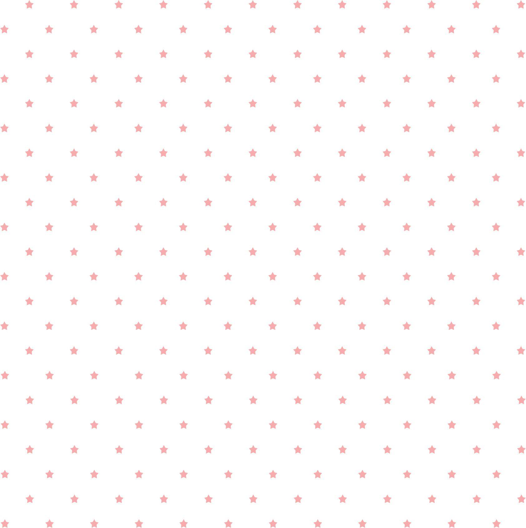 Papel de parede  Infantil Coleção Olá Baby 2 Estrelas Creme, Rosa