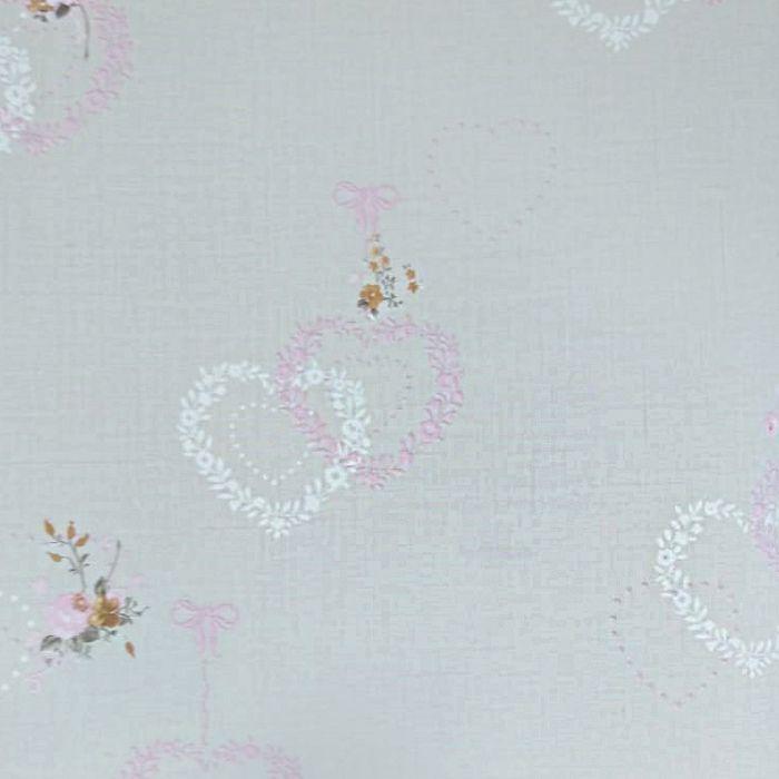 Papel de parede  Infantil Coleção Olá Baby 2 Floral Corações Bege, Rosa, Marfim, Marrom