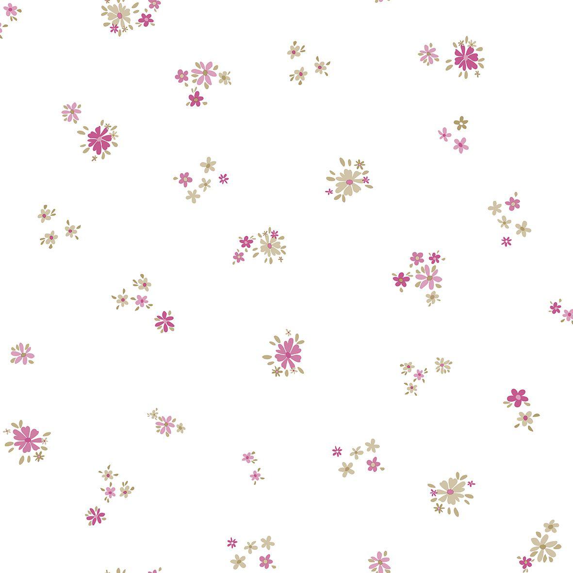 Papel de Parede  Kan Tai Vinilico Infantil Coleção Olá Baby 2 Floral Creme, Rosa, Marrom