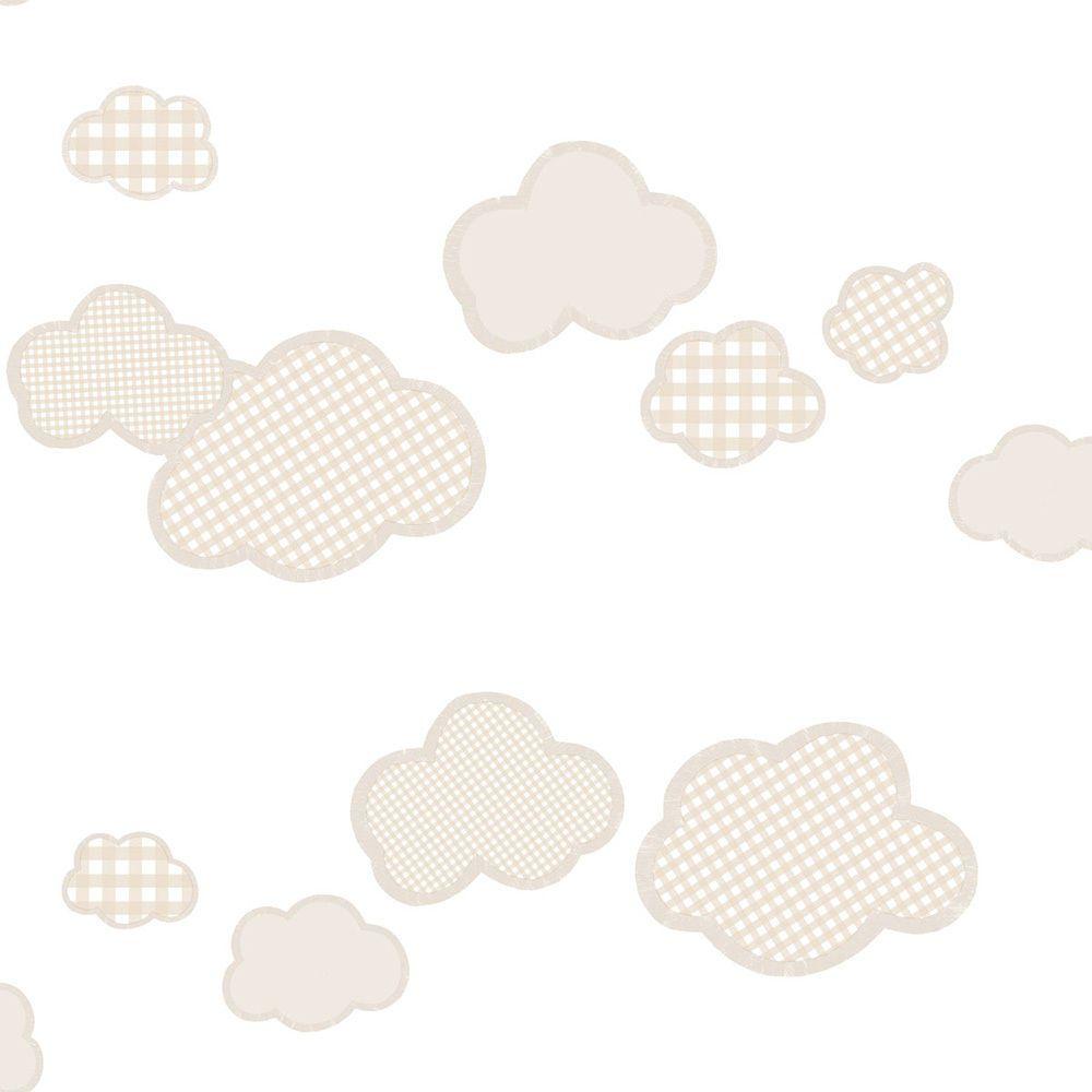 Papel de parede  Infantil Coleção Olá Baby 2 Nuvens Creme, Marrom