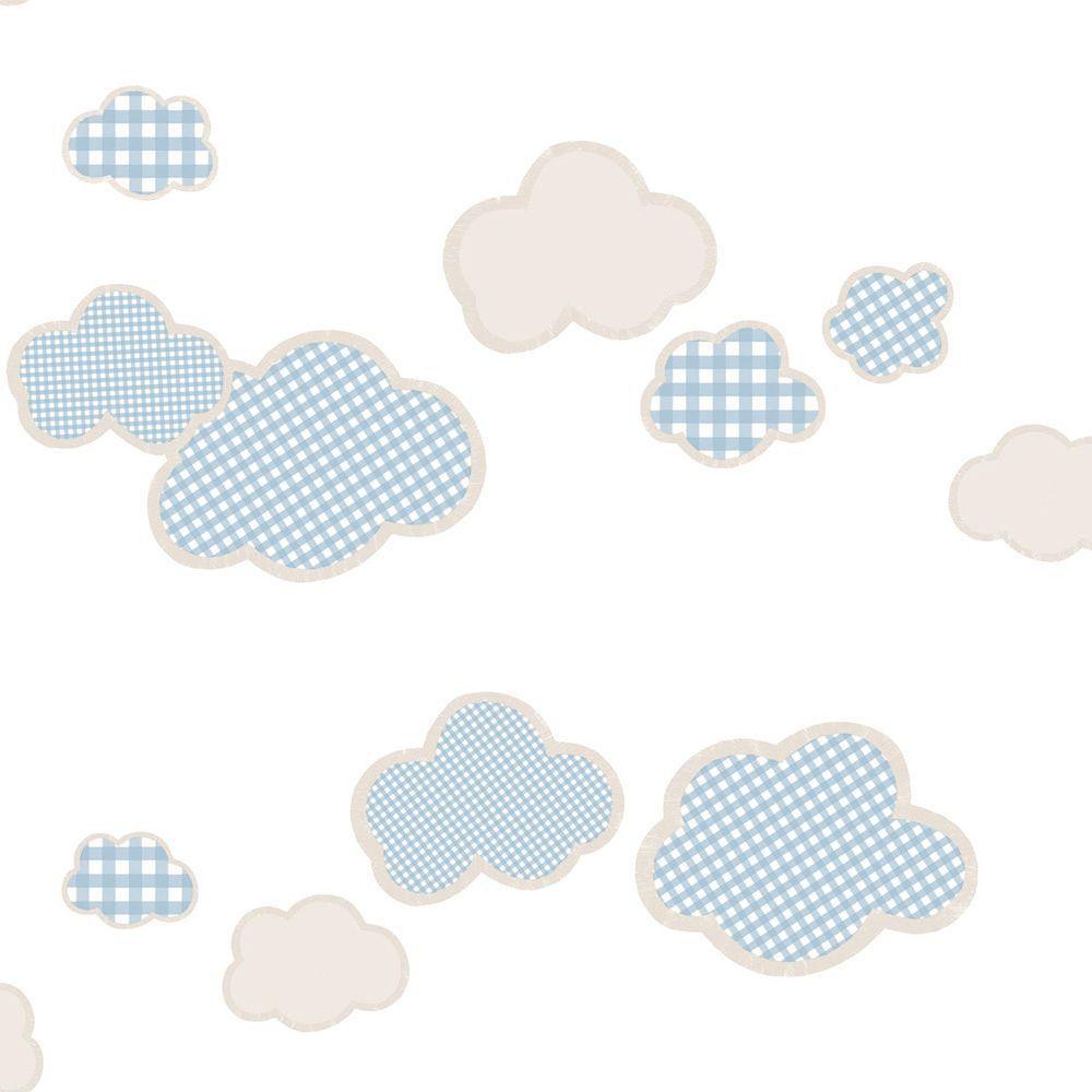 Papel de parede  Infantil Coleção Olá Baby 2 Nuvens Creme, Marrom, Azul