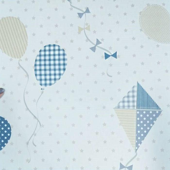 Papel de parede  Infantil Coleção Olá Baby 2 Pipas Balões Estrelinhas Bege, Creme, Azul