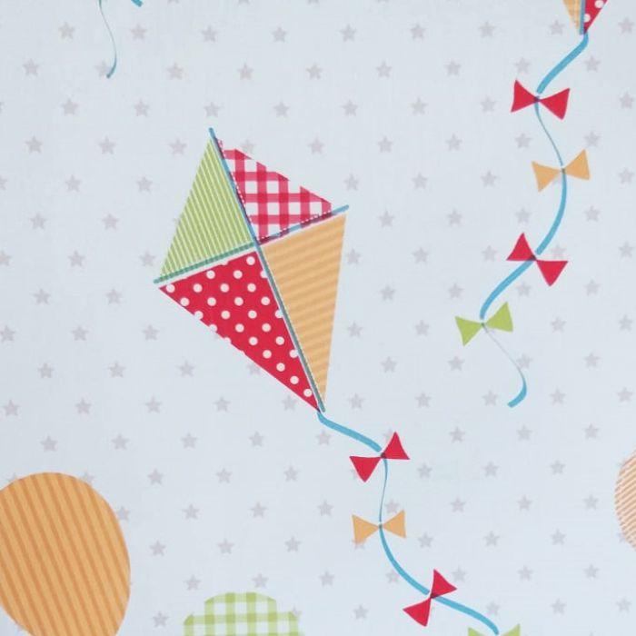 Papel de Parede  Kan Tai Vinilico Infantil Coleção Olá Baby 2 Pipas Balões Estrelinhas Creme, Vermelho, Verde, Abóbora, Azul