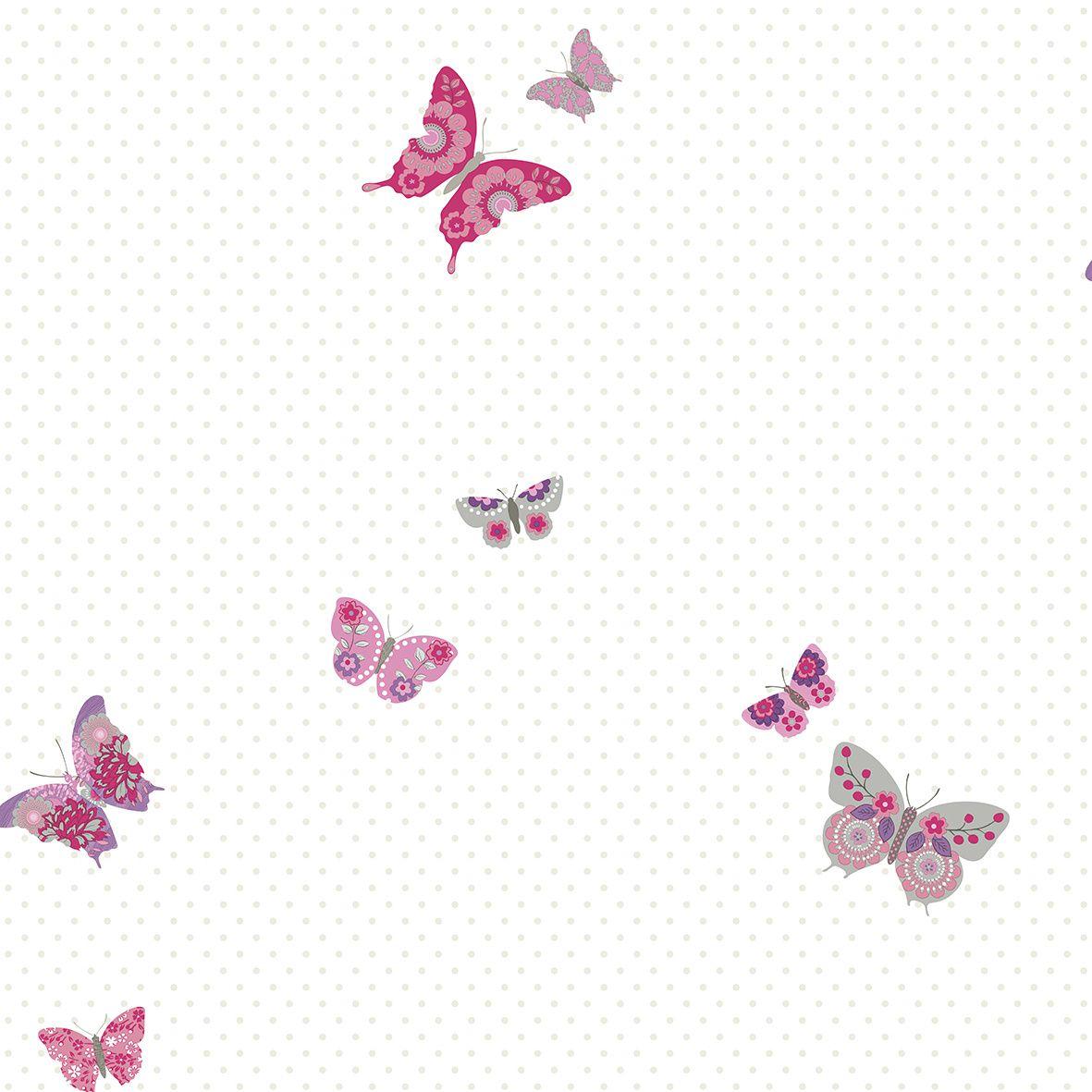 Papel de parede  Infantil Coleção Olá Baby 2 Poá Borboletas Creme, Rosa, Lilás, Cinza