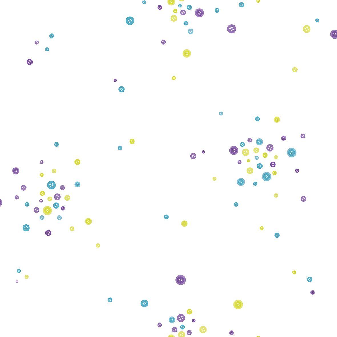 Papel de parede  Infantil Coleção Olá Baby 2 Poá Creme, Azul, Violeta, Amarelo