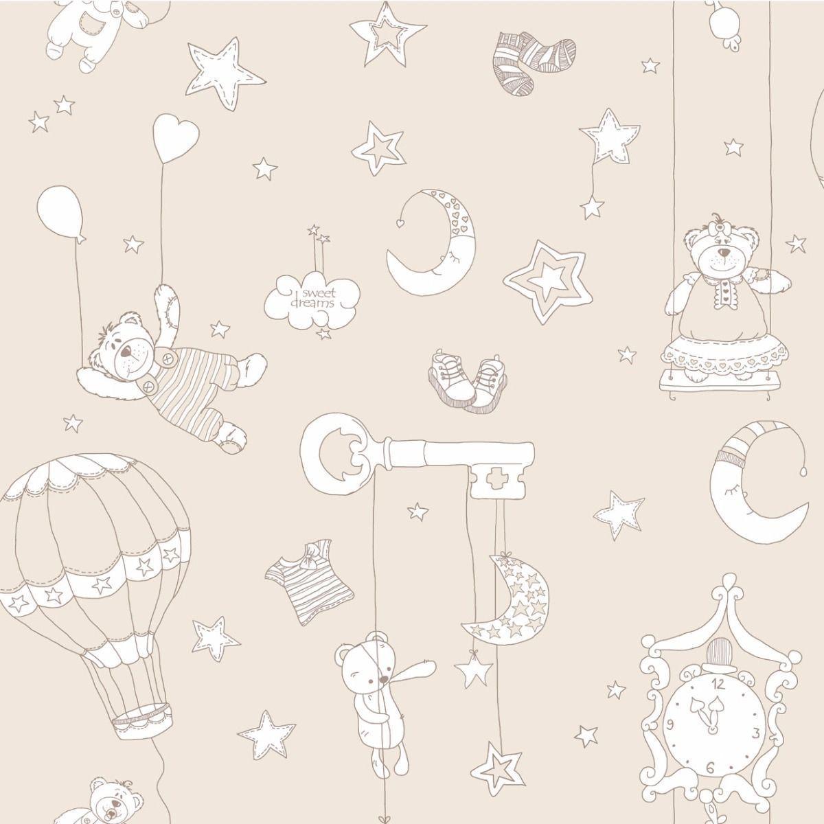 Papel de parede  Infantil Coleção Olá Baby 2 Ursinhos Divertidos Bege, Marfim