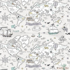 Papel de Parede Infantil Kan Tai TNT Coleção Baby Charmed Mapa Mundi, Cinza, Marfim