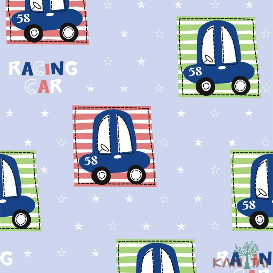 Papel de Parede Infantil Vinílico Kan Tai Coleção Hello Kids Carros Azul, Verde, Branco