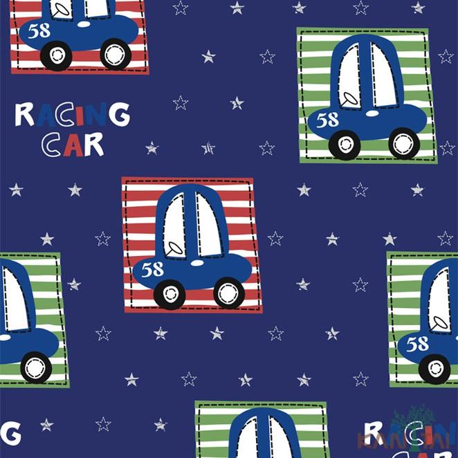 Papel de Parede Infantil Vinílico Kan Tai Coleção Hello Kids Carros Azul escuro, Vermelho, Verde