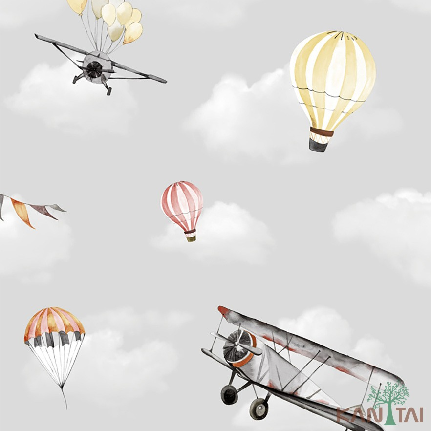 Papel de Parede Infantil Vinílico Kan Tai Coleção Hello Kids Nuvem Balão Avião Cinza claro, Amarelo, Prateado