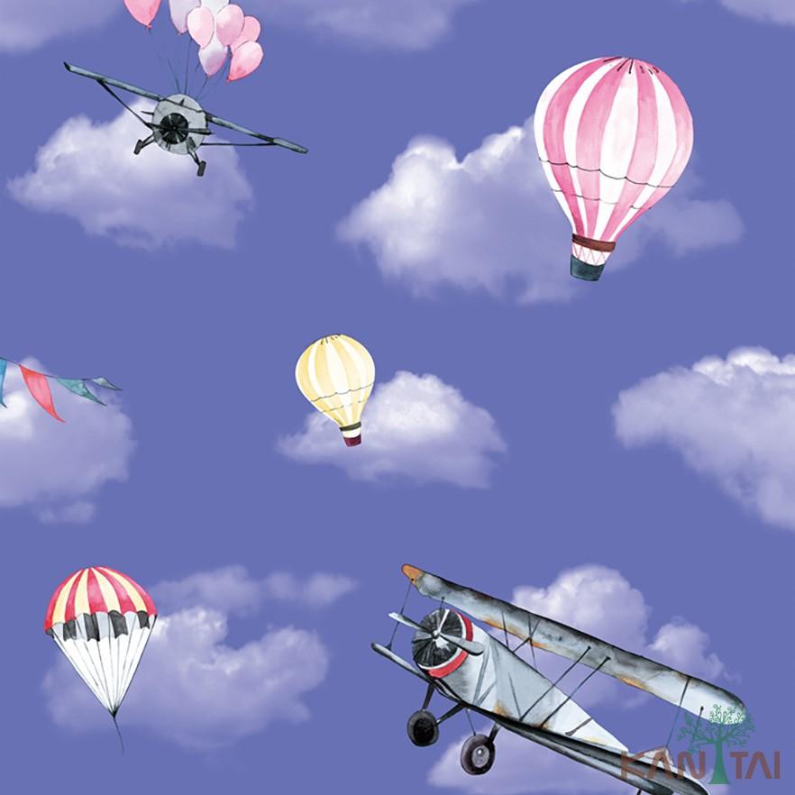 Papel de Parede Infantil Vinílico Kan Tai Coleção Hello Kids Nuvens Aviões Balões Azul céu, Rosa, Branco