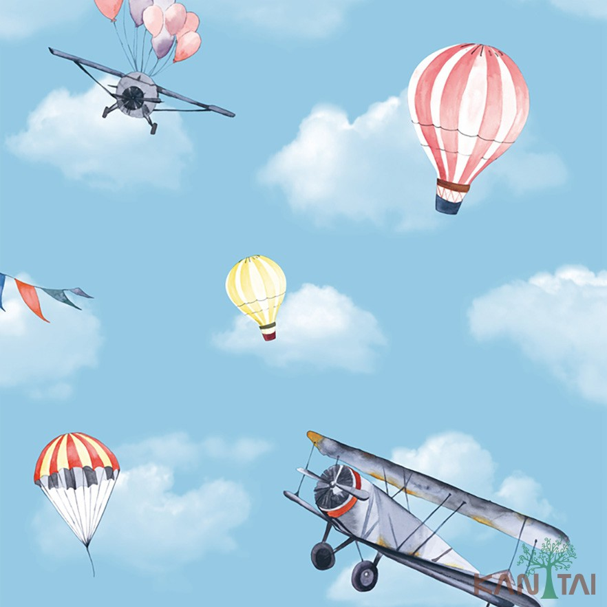Papel de Parede Infantil Vinílico Kan Tai Coleção Hello Kids Nuvens Balões Aviões Azul claro, Amarelo, Rosa