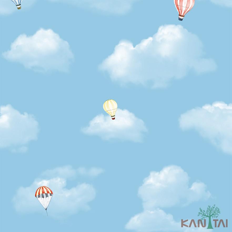 Papel de Parede Infantil Vinílico Kan Tai Coleção Hello Kids Nuvens Balões Azul claro, Amarelo, Branco