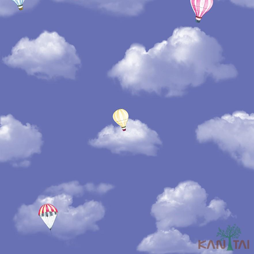 Papel de Parede Infantil Vinílico Kan Tai Coleção Hello Kids Nuvens Balões Azul céu, Amarelo, Rosa, Branco