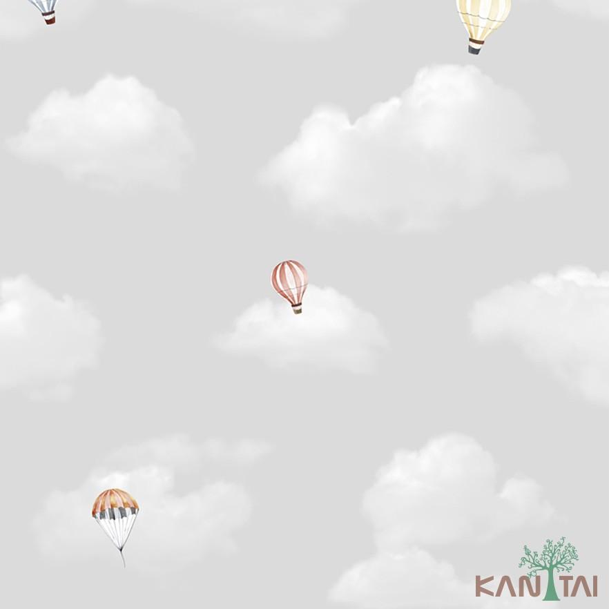 Papel de Parede Infantil Vinílico Kan Tai Coleção Hello Kids Nuvens  Balões Cinza claro, Amarelo, Branco