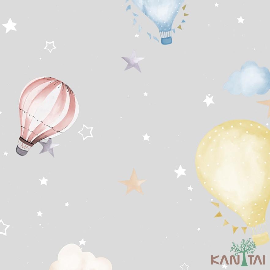 Papel de Parede Infantil Vinílico Kan Tai Coleção Hello Kids Nuvens Balões Off white, Azul, Vermelho