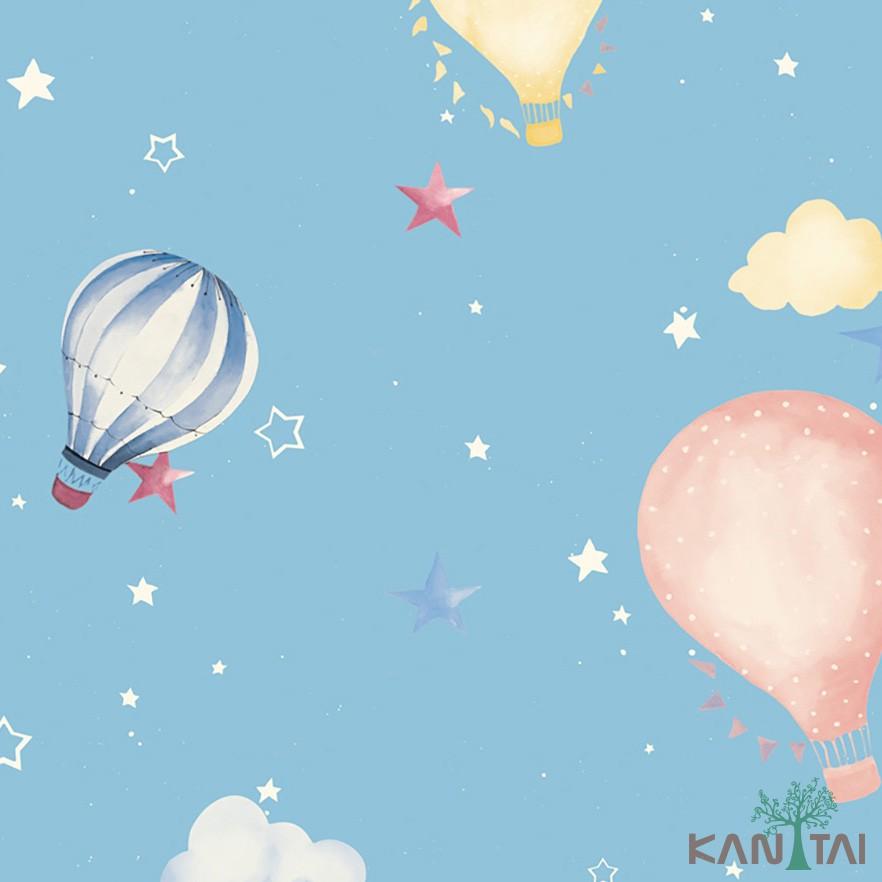 Papel de Parede Infantil Vinílico Kan Tai Coleção Hello Kids Nuvens Balões Azul claro, Branco, Rosa