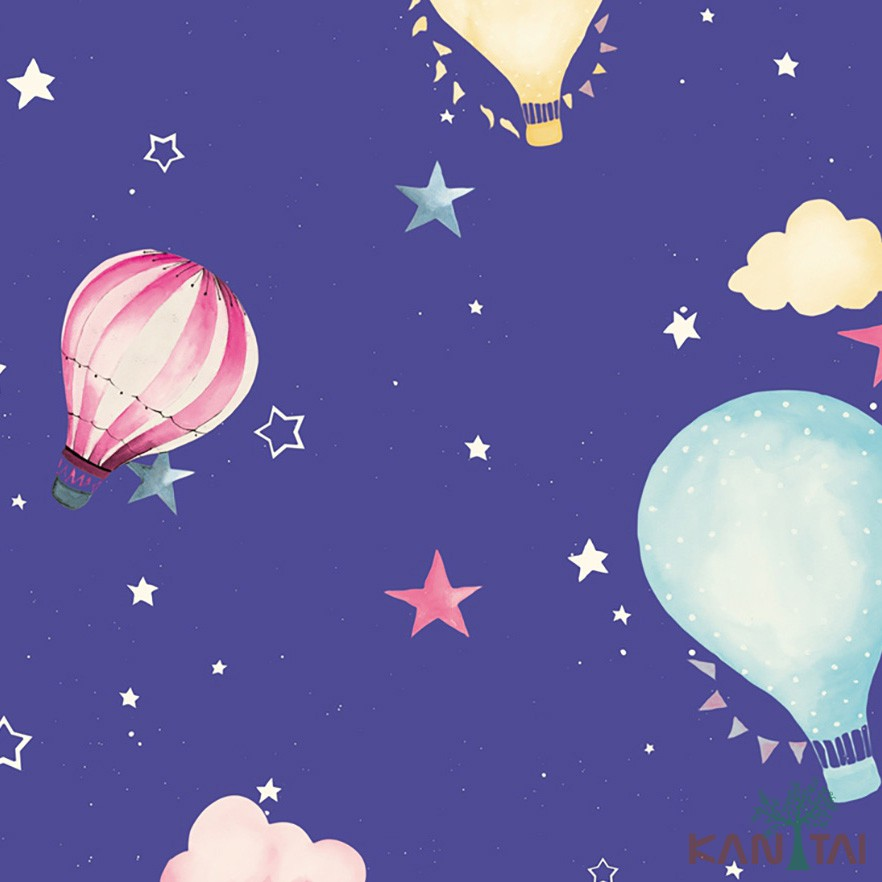Papel de Parede Infantil Vinílico Kan Tai Coleção Hello Kids Nuvens Balões Azul céu, Amarelo, Rosa