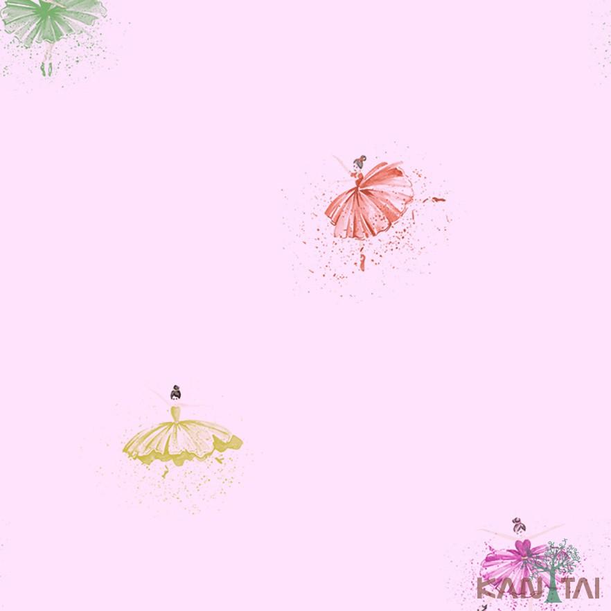 Papel de Parede Infantil Vinílico Kan Tai Coleção Hello Kids Bailarinas Rosa, Amarelo, Lilás