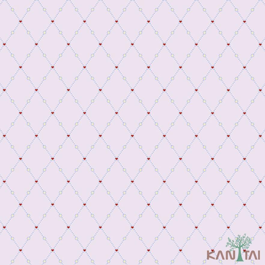 Papel de Parede Infantil Vinílico Kan Tai Coleção Hello Kids Geométrico Corações Rosê, Vermelho, Azul