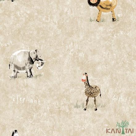 Papel de Parede Infantil Vinílico Kan Tai Coleção Hello Kids Safari Bege claro, Cinza, Marrom