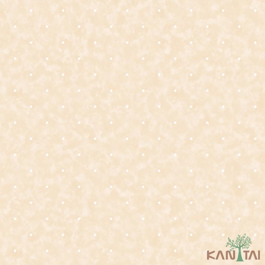 Papel de Parede Infantil Vinílico Kan Tai Coleção Hello Kids Poá Creme, Branco